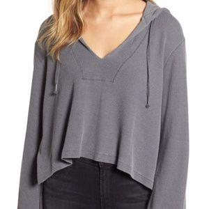 Splendid Grey Thermal Crop Hoodie Pullover Small